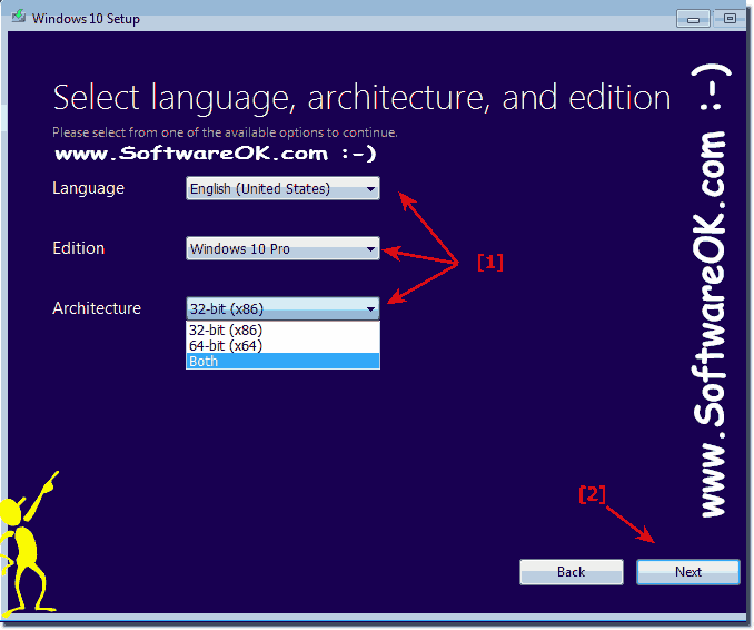 Select Windows 10 language, edition and x64 or x32 architecture!