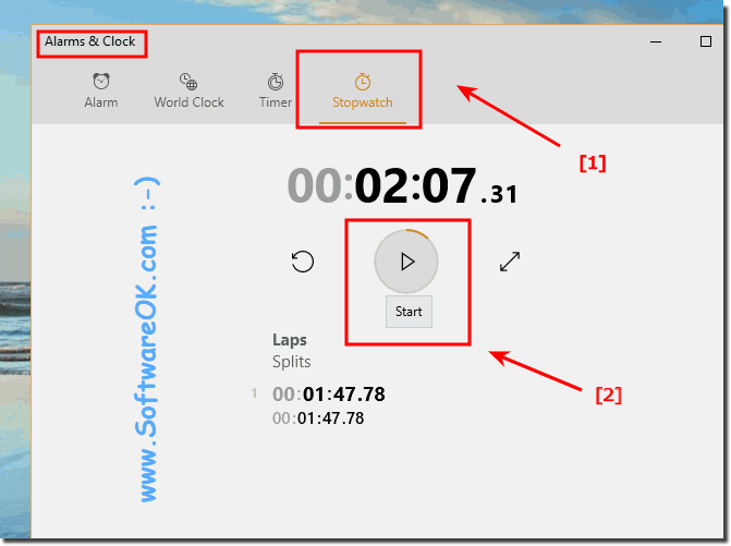 Start Stopwatch in Windows-10!