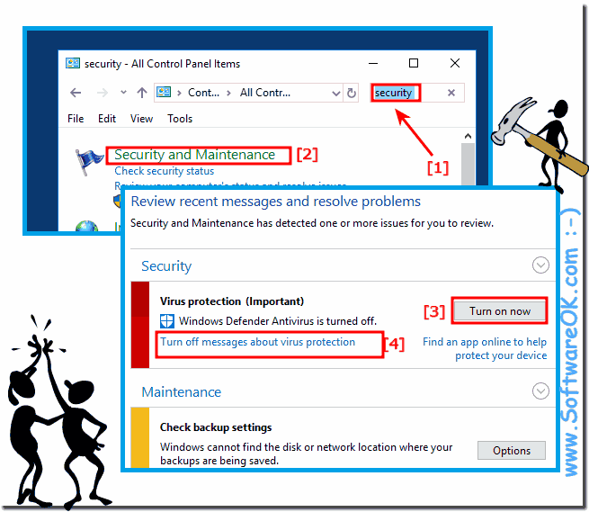 Windows 10 Turn-of virus protection notification!