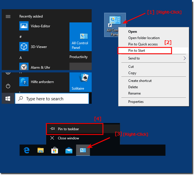 Control Panel pin to Windows-10 Tasbar!