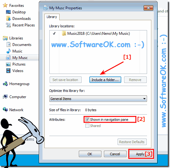 Add folder to the libraries on Windows 7!
