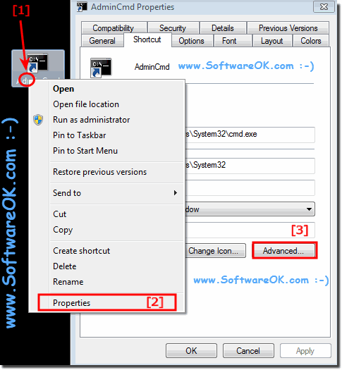 shortcut for cmd.exe and admin run!