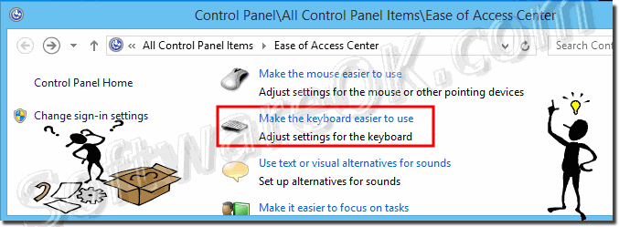 Advanced settings of the keyboard in Windows 8.1 and 8!