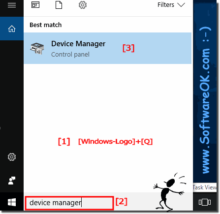 Device Manager via Windows 10 search!