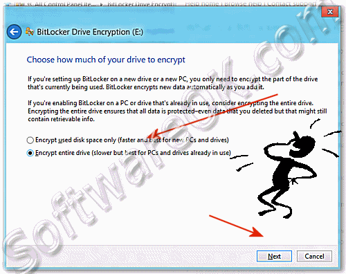 Encrypt used disk space only or Encrypt entire drive on Windows-8