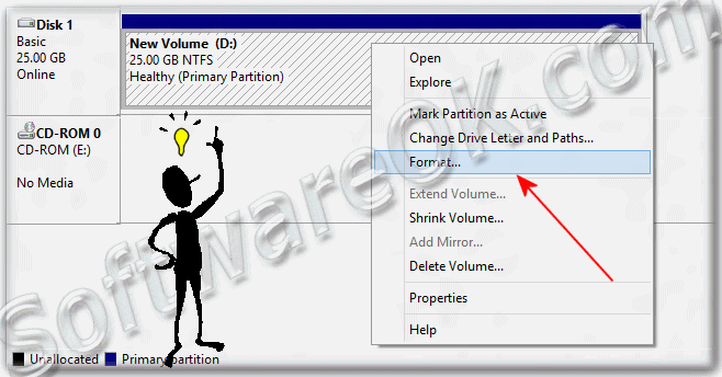 Format new partition or Shrink Volume in Windows-8