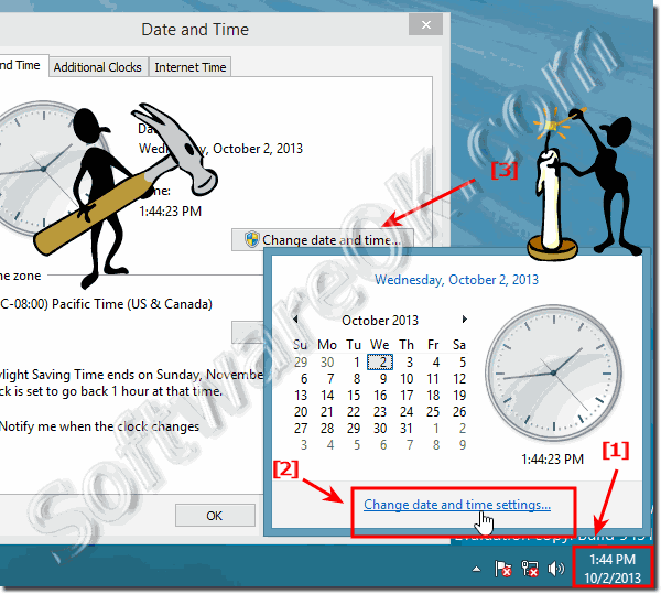 Open Date and Time settings in windows 8.1