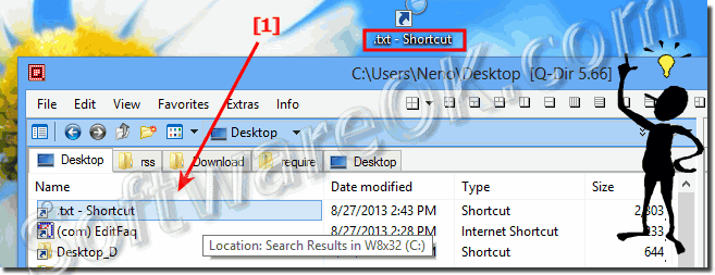 Open the Windows 7, 8, 8.1 Explorer search-list shortcut in Q-Dir!