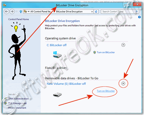 Start (open) Bitlocker Drive Encryption in Windows-8