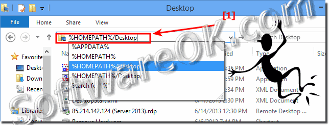The real Desktop folder path and directory in Windows 8