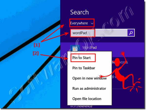 Windows-8.1 WordPad pin on start for a easy start!