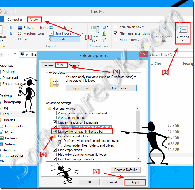 Display the full path in Windows 8.1 ms-explorer title bar!