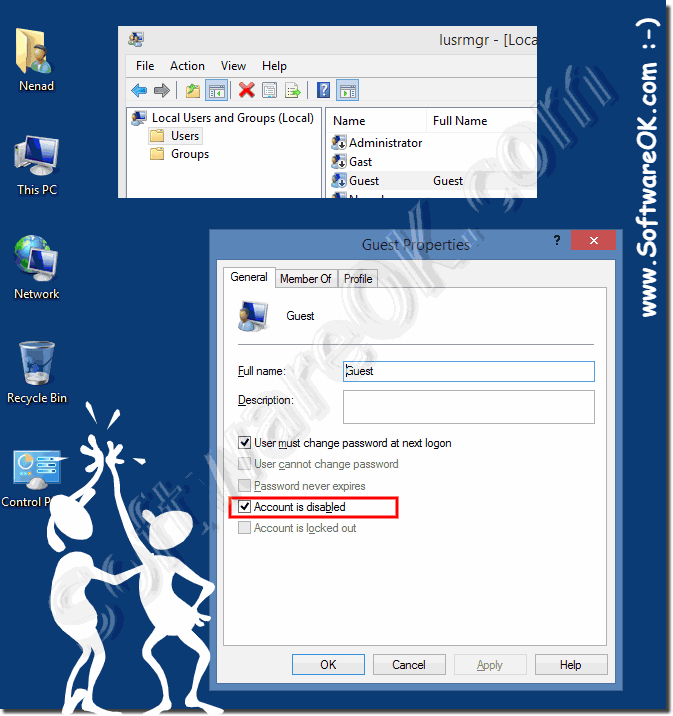 enable or disable the guest account in Windows!