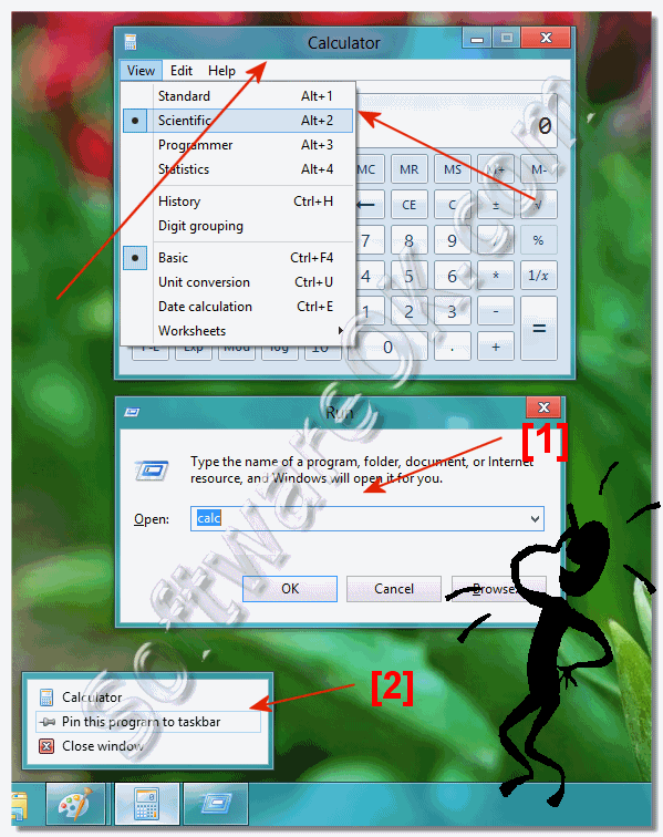 Find the calculator in Windows 8 (open, start, run)