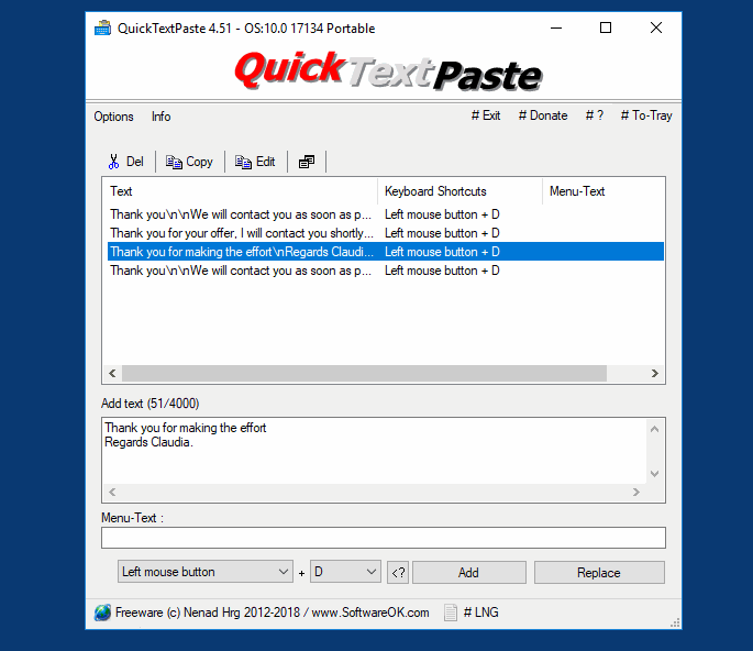 Click to view QuickTextPaste 3.77.1 screenshot