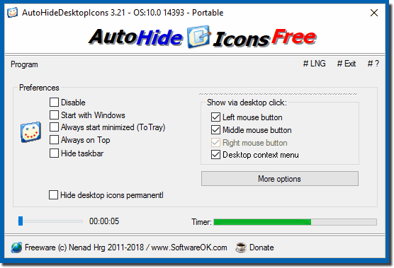 Auto Hide Desktop Icons Portable Win-App.