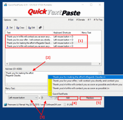 QuickTextPaste2 Predefined text snippets via Clipboard