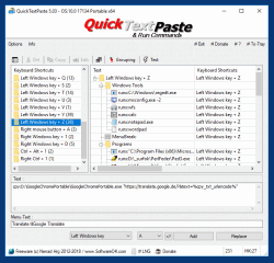 QuickTextPaste 2 Insert specific text into the documents and win commands even under 10