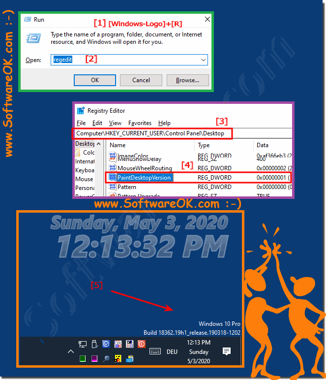 Windows 10 version and build number on the desktop!