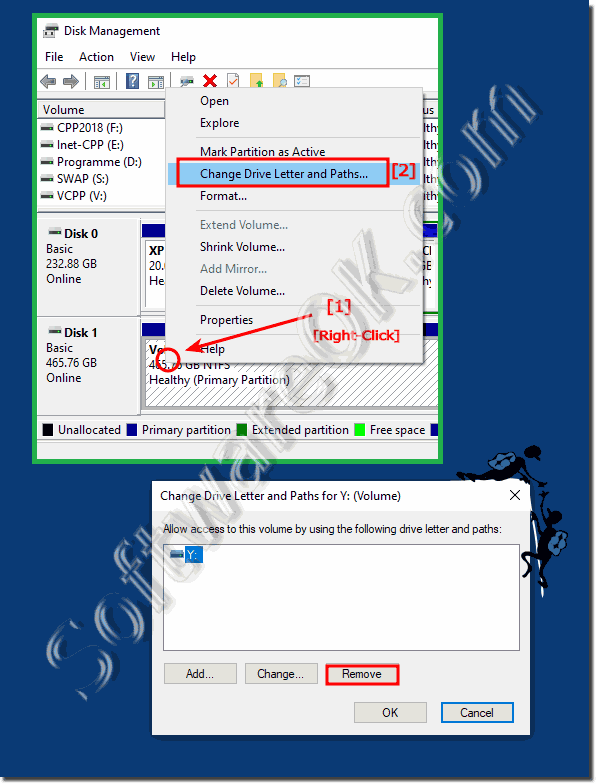 Hide drives, Hard and SSD partitions on Windows 10!