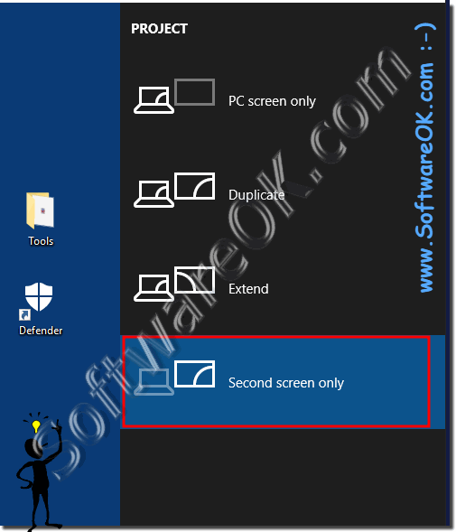 Use only the external monitor on the Surface Pro or laptop at Windows 10!