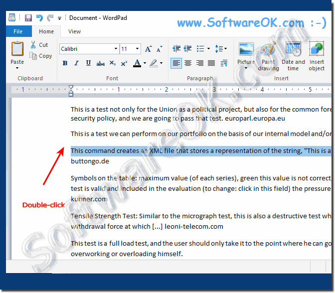 Selecting only one line in the Windows 10 Word document!