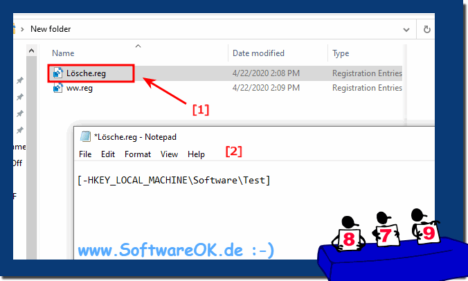 Delete registry values ​​and complete folders on Windows 10 and servers!