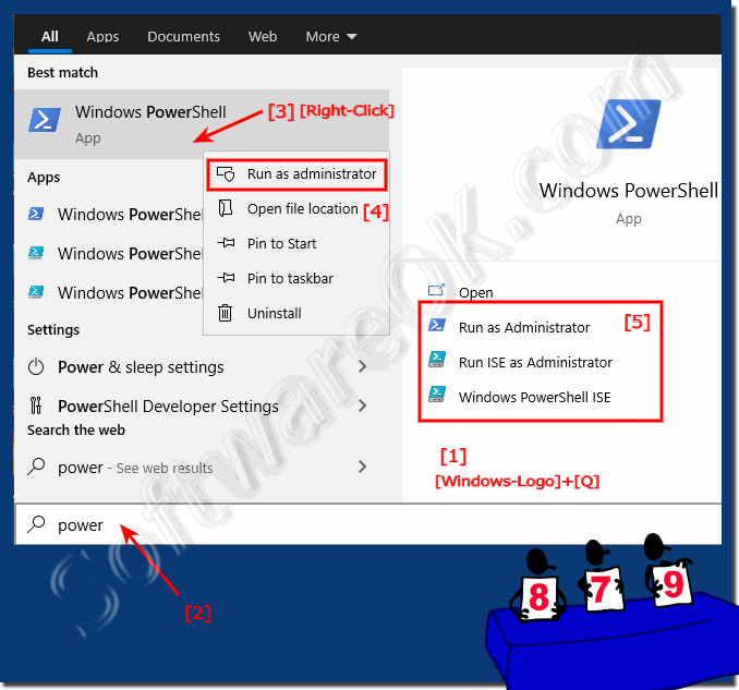 Start via the search field the PowerShell on Windows 10!