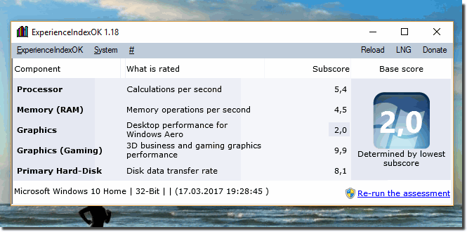 ExperienceIndex OK on Windows 10!