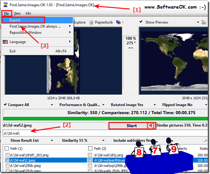 Image comparisons Export data from the result list!