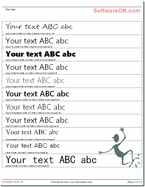 Windows Fonts Print Overview!