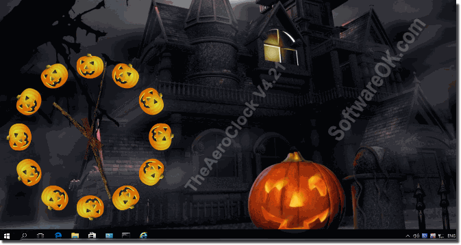 Halloween Desktop Wallpaper plus Windows Clock!