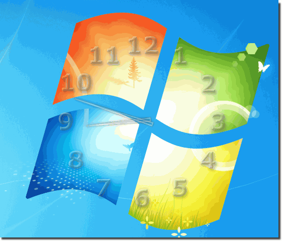 clock on Windows desktop and glass effect!