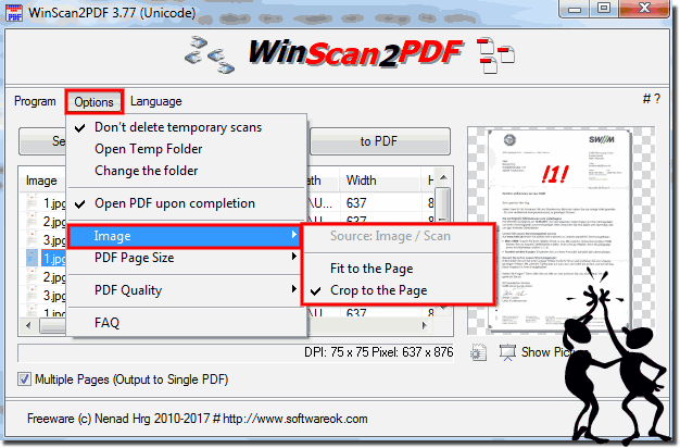 Picture ergo Scan: Fit to the Page or Crop to the PDF!