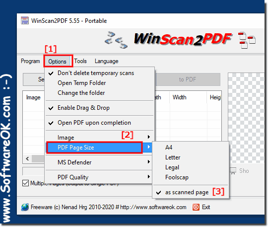 Scanned page size to PDF A4, A3, A2, A1 on al Windows Desktop and Server!