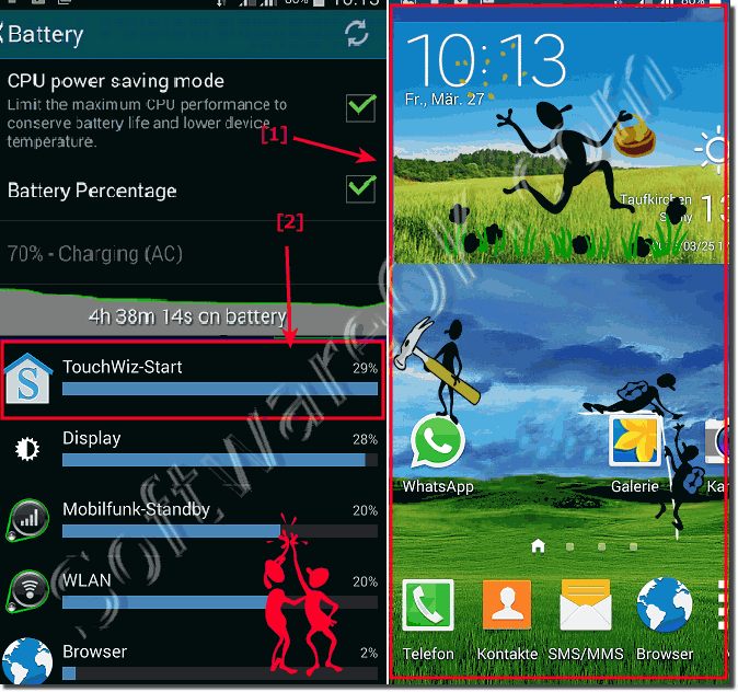 TouchWiz-Start battery usage on my android mobile phone!