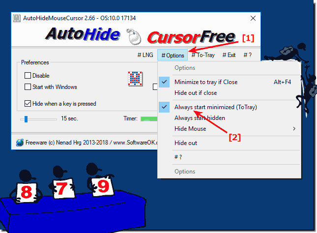 Stert Auto-Hide-Mouse-Cursor always to-tray!
