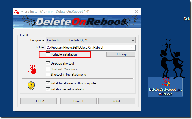 Portable Delete On Reboot Tool for all Windows MS-OS!
