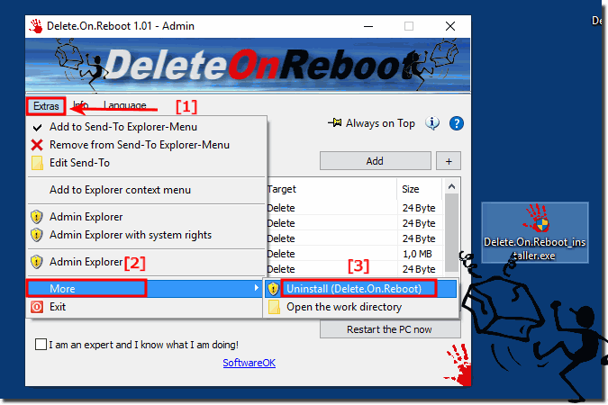 Uninstall Reboot deletion program from windows!