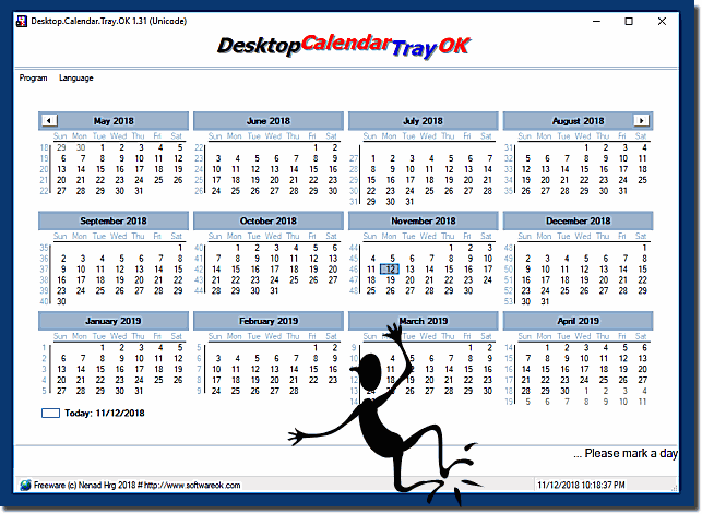 Desktop Calendar from Tray is O.K.