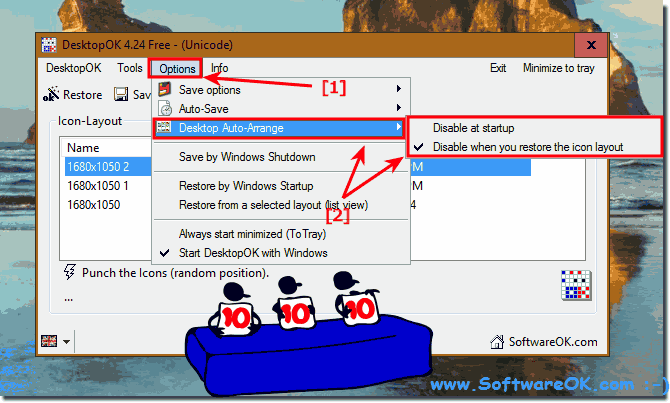 Disable Desktop Icons auto arrange!