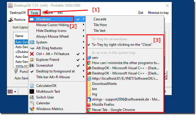 Minimize programs to tray, via RIGHT-CLICK on Close Button!