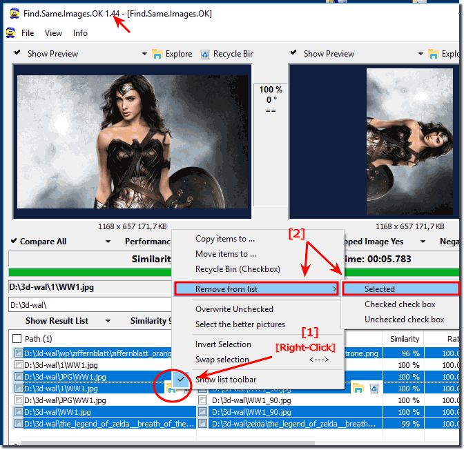 Mark an Remove Duplicate of the images in the Result List!