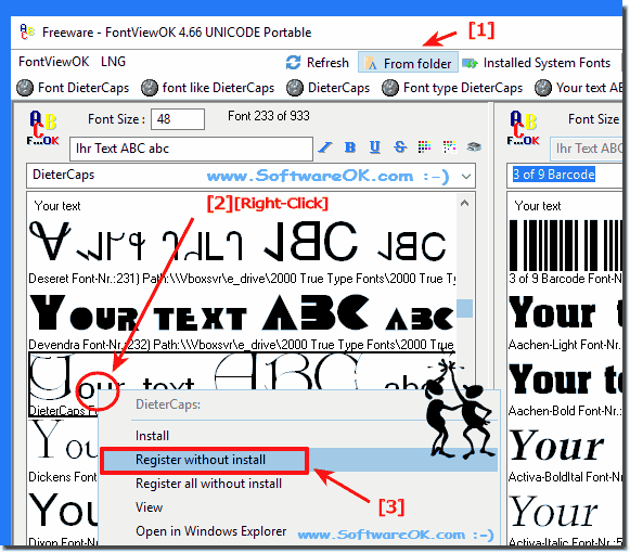 How to view and use the fonts without installing the windows