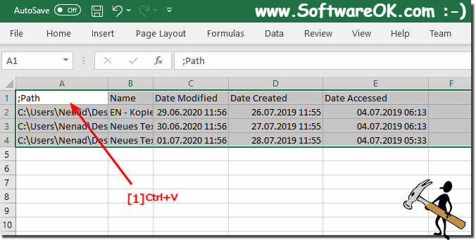 file times via clipboard to in Excel!