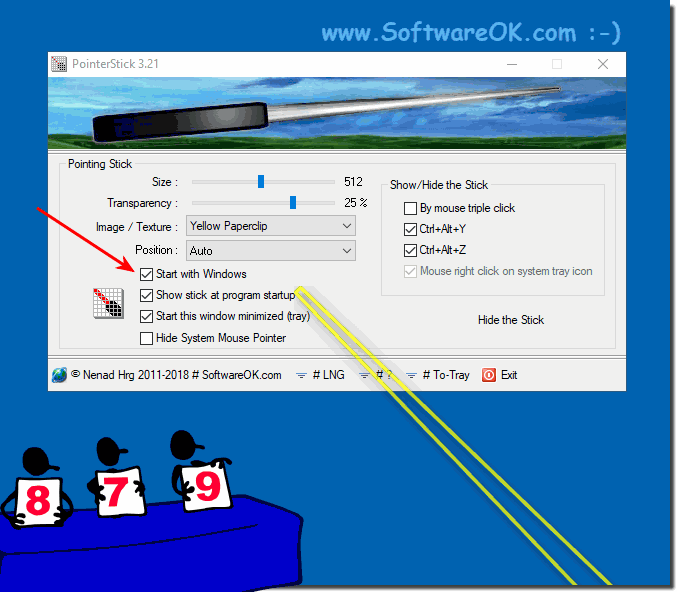Auto start the Mouse Pointer-Stick with Windows!
