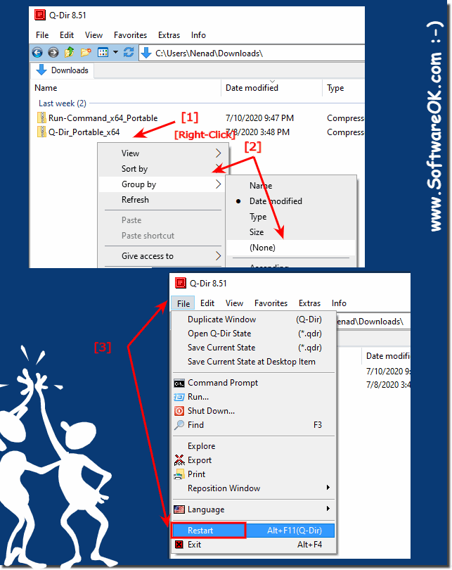Disable the Explorer List View grouping Download Folder!