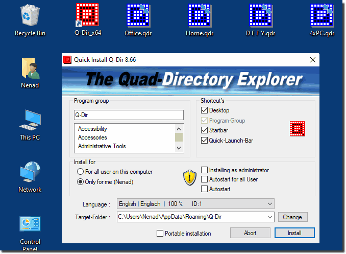 The Quad-Directory Explorer for Windows!