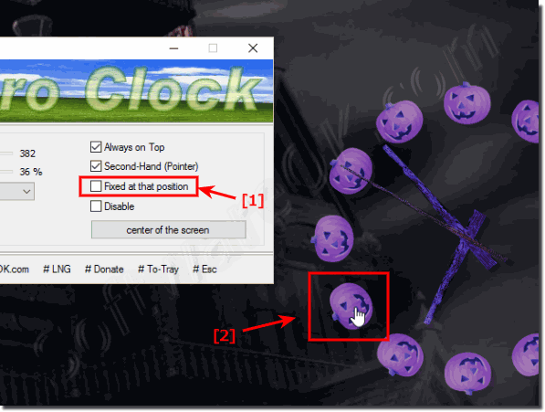 Change the position of the Desktop clock!