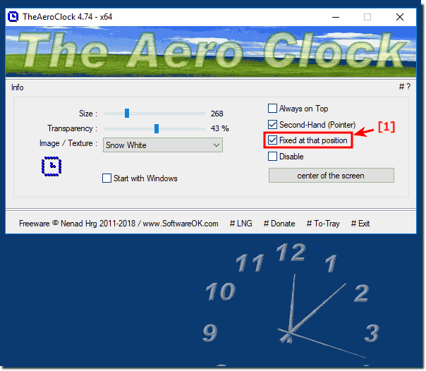 Fixed at this position windows desktop clock!